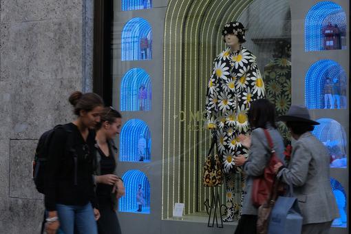 Moncler boutique  with shop windows on Via Montenapoleone in Mil - MyVideoimage.com