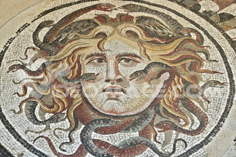 Mosaic with the head of Medusa at the National Roman Museum. - LEphotoart.com