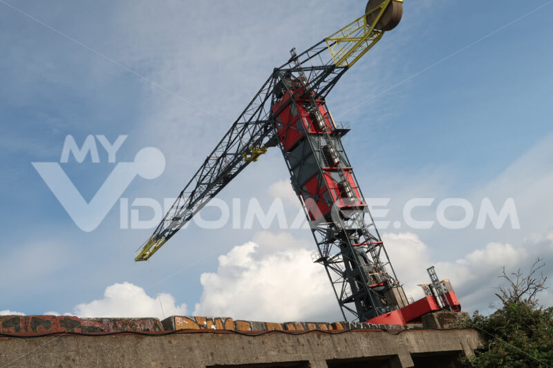 NDSM construction site crane in Amsterdam. The old crane has bee - MyVideoimage.com