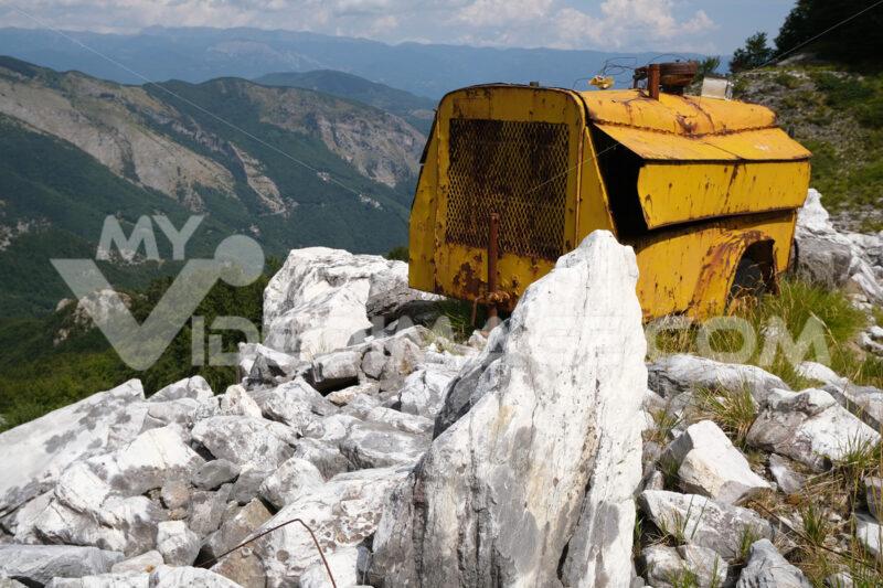 Old machinery. Environmental degradation in the mountains of Alta Versilia. Stock photos. - MyVideoimage.com   Foto stock & Video footage