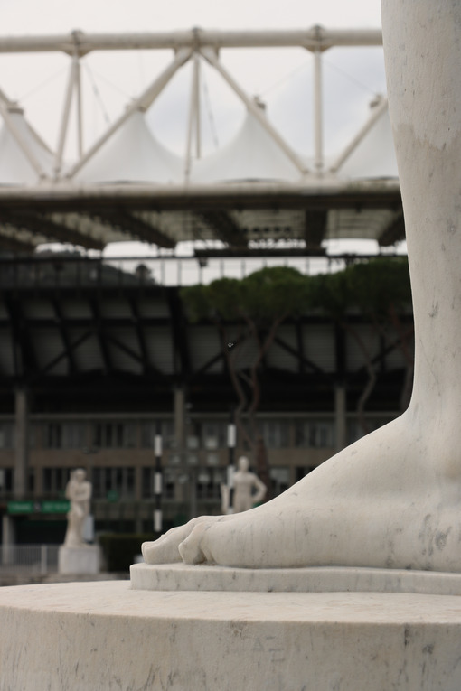 Olympic stadium and marble stadium. White Carrara marble sculptures of the Italian forum in Rome. - MyVideoimage.com