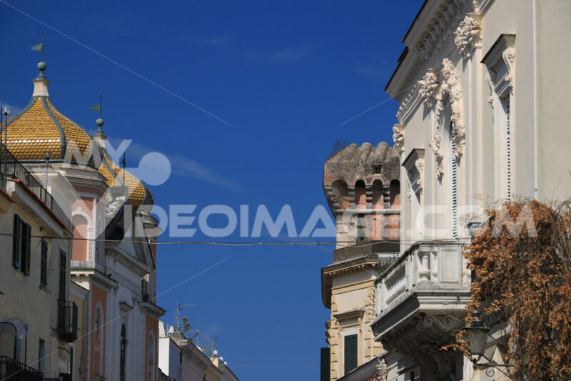Oriental style dome and buildings with floral decorations on the island of Ischia. Blue sky. - MyVideoimage.com