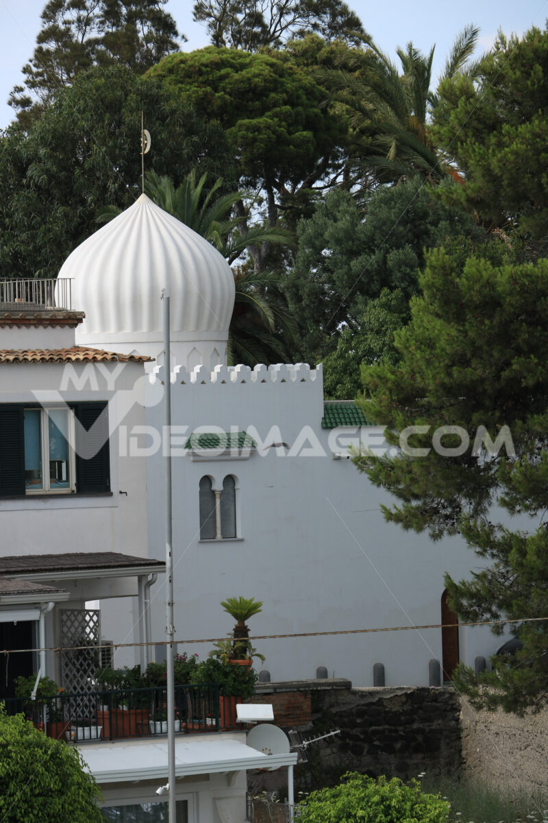 Oriental-style house on the island of Ischia. A building with an - MyVideoimage.com