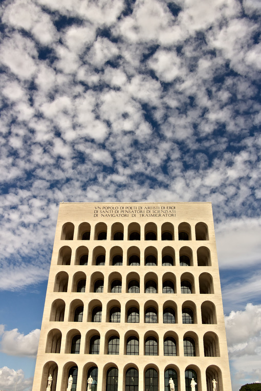 Palace of Italian Civilization built in Rome EUR. Fendi exhibition. Roma foto. - MyVideoimage.com