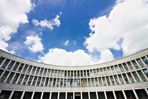 Palace of the INPS in Rome Eur, Piazza delle Nazioni Unite. Roma foto. - MyVideoimage.com