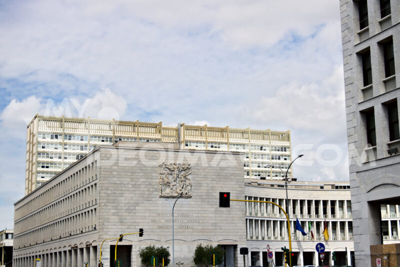 Palace of the INPS in Rome Eur, Via Ciro il Grande. - MyVideoimage.com
