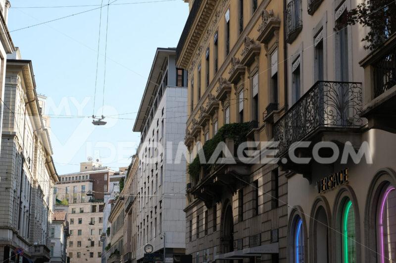 Palaces on the Milan fashion street.  Via Montenapoleone - MyVideoimage.com