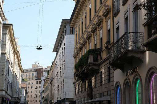 Palaces on the Milan fashion street.  Via Montenapoleone - MyVideoimage.com