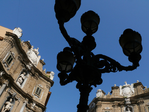 Palermo, Sicily, Italy. Ancient iron lamp post. - MyVideoimage.com