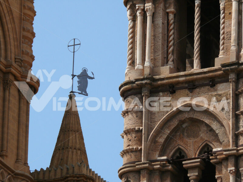 Palermo, Sicily, Italy. Details of the cathedral. Bell tower. - MyVideoimage.com