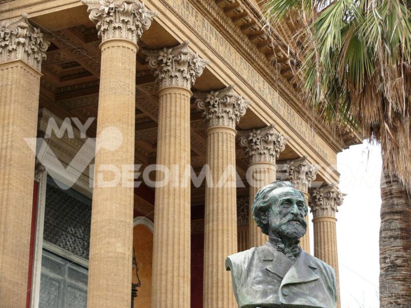 Palermo, Sicily, Italy.  Main facade of the Teatro Massimo. - MyVideoimage.com