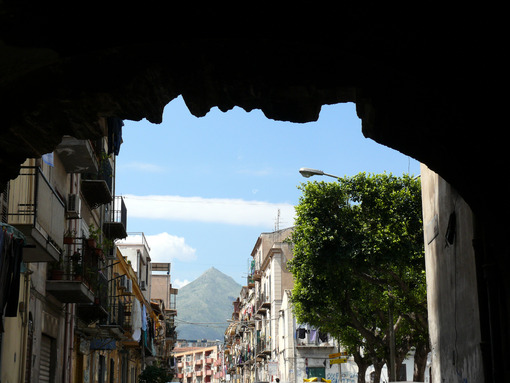 Palermo, Sicily, Italy.  Popular road with mountain frond. - MyVideoimage.com