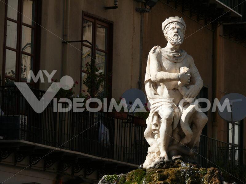 Palermo, Sicily, Italy.  Pretoria fountain. - MyVideoimage.com