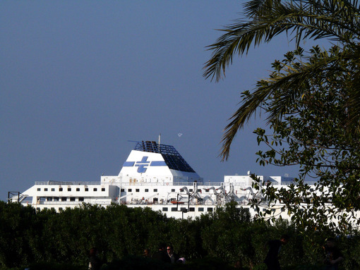 Palermo, Sicily, Italy. Tirrenia ship anchored at the port of Palermo. - MyVideoimage.com