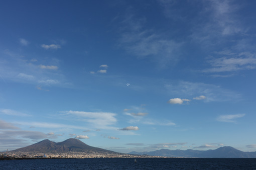 Panorama of the Gulf of Naples with the sea and the volcanic mountain of Vesuvius. - MyVideoimage.com