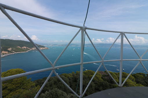 Panorama of the La Spezia Gulf , seen from the balcony of the lighthouse of the island of Tino, near Portovenere and the Cinque Terre. Foto mare. - LEphotoart.com