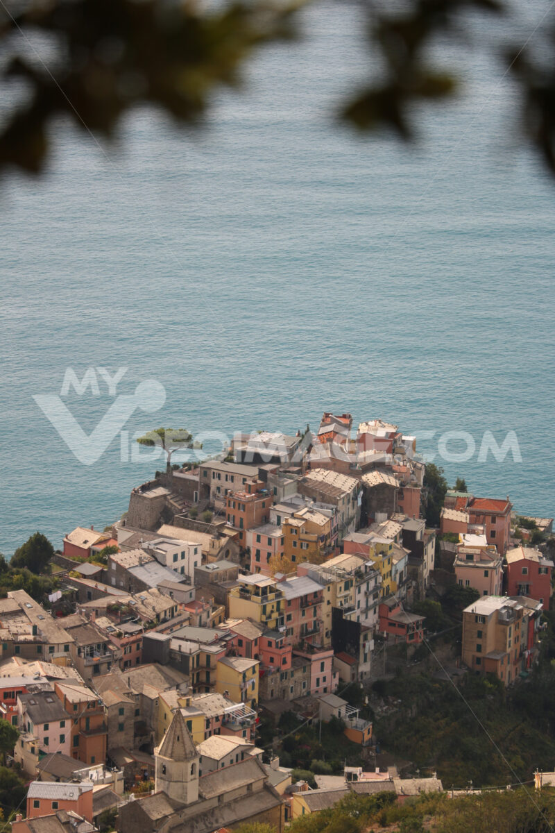 Panorama of the village of Corniglia in the Cinque Terre. Top view of mountain trails. - MyVideoimage.com