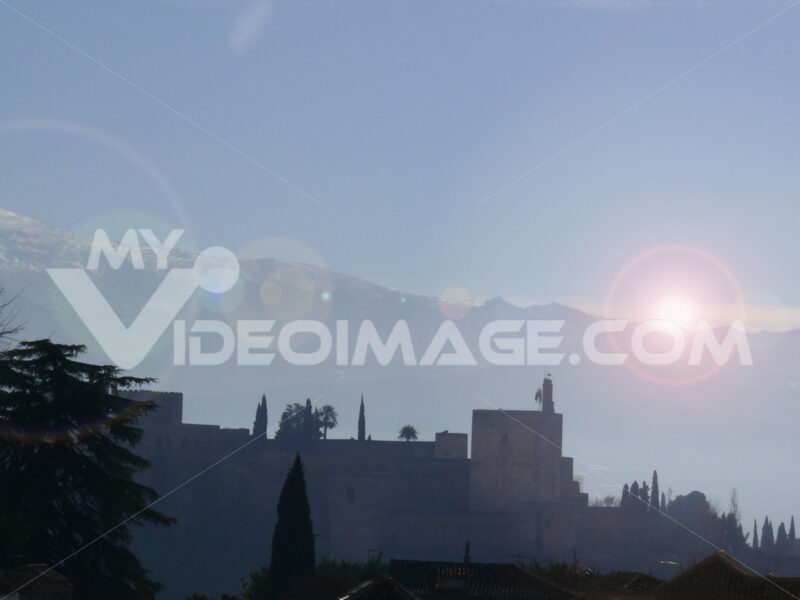 Panoramic view of the Alhambra and the mountains. - MyVideoimage.com