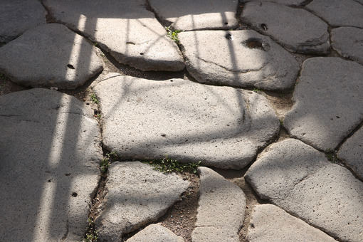 Paved Opus Incertum of a Roman road in the ancient city of Pompeii. - MyVideoimage.com