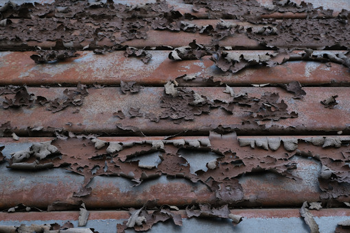 Peeled paint on a rusty shutter. This photo shows the paint peeling off the iron slats of a shutter. - MyVideoimage.com   Foto stock & Video footage