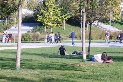 People rest lying on the green grass in the park under the trees. CityLife Milan Residential Complex. - MyVideoimage.com