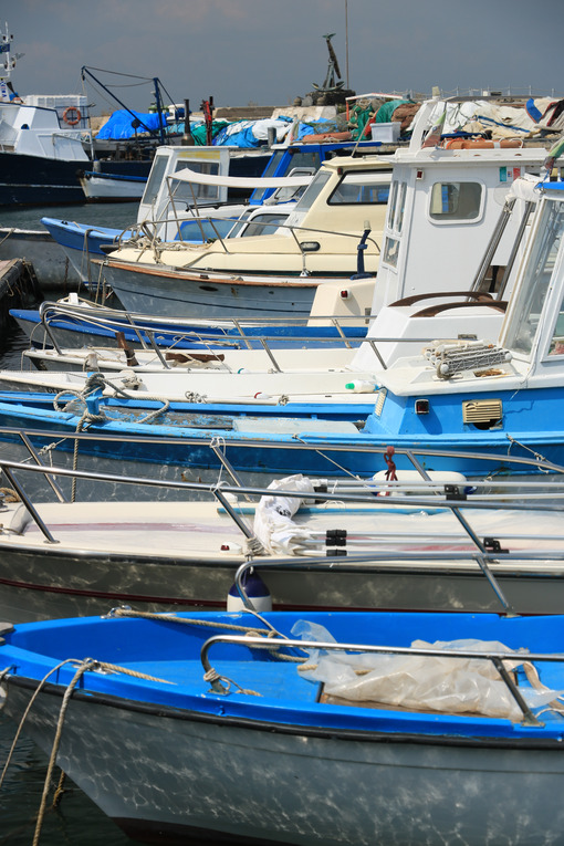 Pesca a Procida. Fishing boats moored at the harbor. Fishing is still an importan - MyVideoimage.com | Foto stock & Video footage