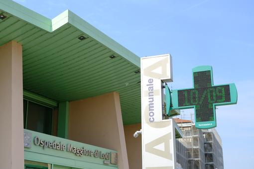 Pharmacy sign. Lodi hospital. Stock photos. - MyVideoimage.com | Foto stock & Video footage