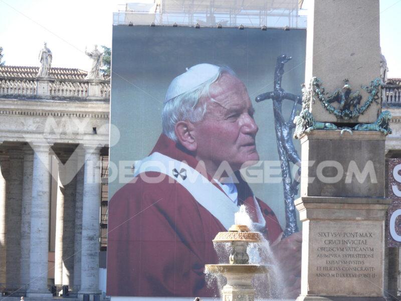 Photograph of Pope John Paul II, Karol Józef Wojtyła in the Vatican Square. - MyVideoimage.com