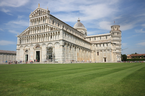 Piazza dei miracoli of Pisa. Cathedral, leaning tower of the Tuscan city. Blue sky with clouds. - LEphotoart.com
