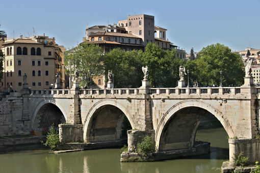 Ponte Sant'Angelo crosses the Tiber river in Rome. - MyVideoimage.com