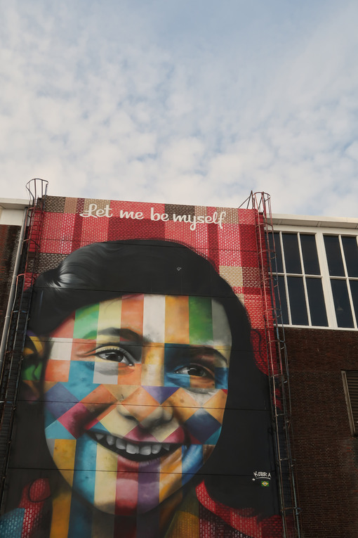 Portrait of Anne Frank in a mural in Amsterdam. A large painting - MyVideoimage.com