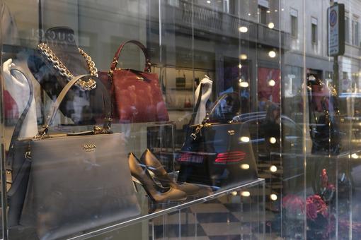 Prada boutique with shop windows on Via Montenapoleone in Milan. - MyVideoimage.com