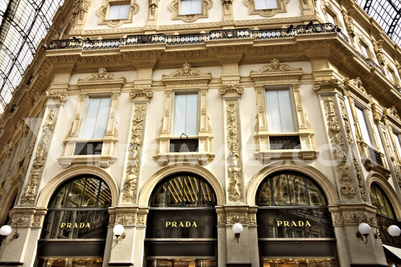 Prada shop at the Galleria Vittorio Emanuele II in Milan. - MyVideoimage.com