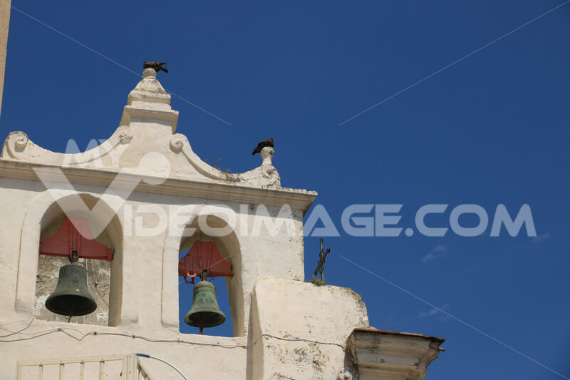 Procida church. Bell tower with bells in a Mediterranean church on the island of - MyVideoimage.com | Foto stock & Video footage