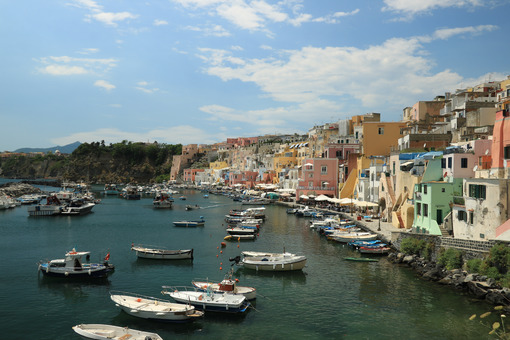 Procida island. Procida Island near Naples. Port of Corricella frequented by fis - MyVideoimage.com | Foto stock & Video footage