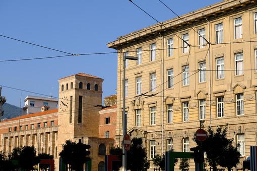 Public buildings in La Spezia. Costa high school and post office. Stock photos. - MyVideoimage.com | Foto stock & Video footage