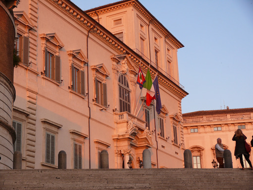 Quirinal Palace. Residence of the President of the Italian Republic. Facade with pink sunset light. - LEphotoart.com