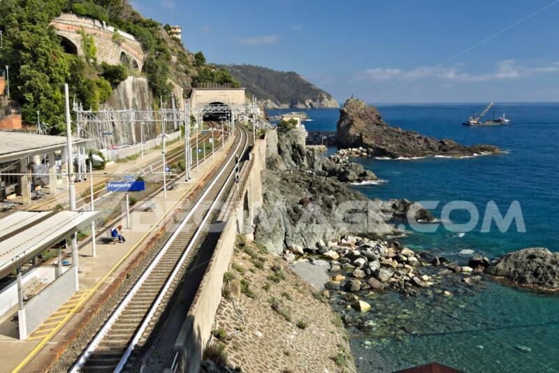 Railway station in Framura, near the Cinque Terre. The station. Foto Stazione. Station photo