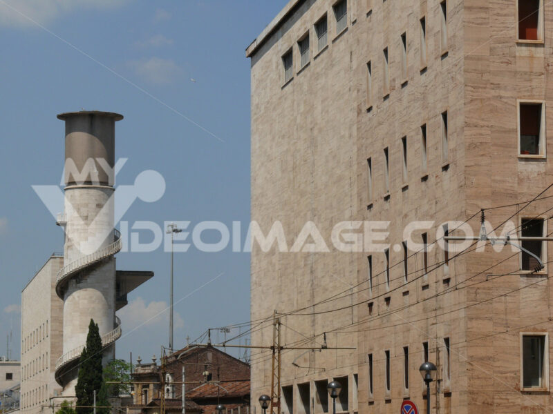 Rationalist architecture of the Rome Termini station. Tower with water tank and spiral staircase. - MyVideoimage.com