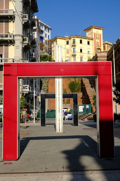 Red portals in La Spezia. Colorful portals in the city. Stock photos. - MyVideoimage.com | Foto stock & Video footage