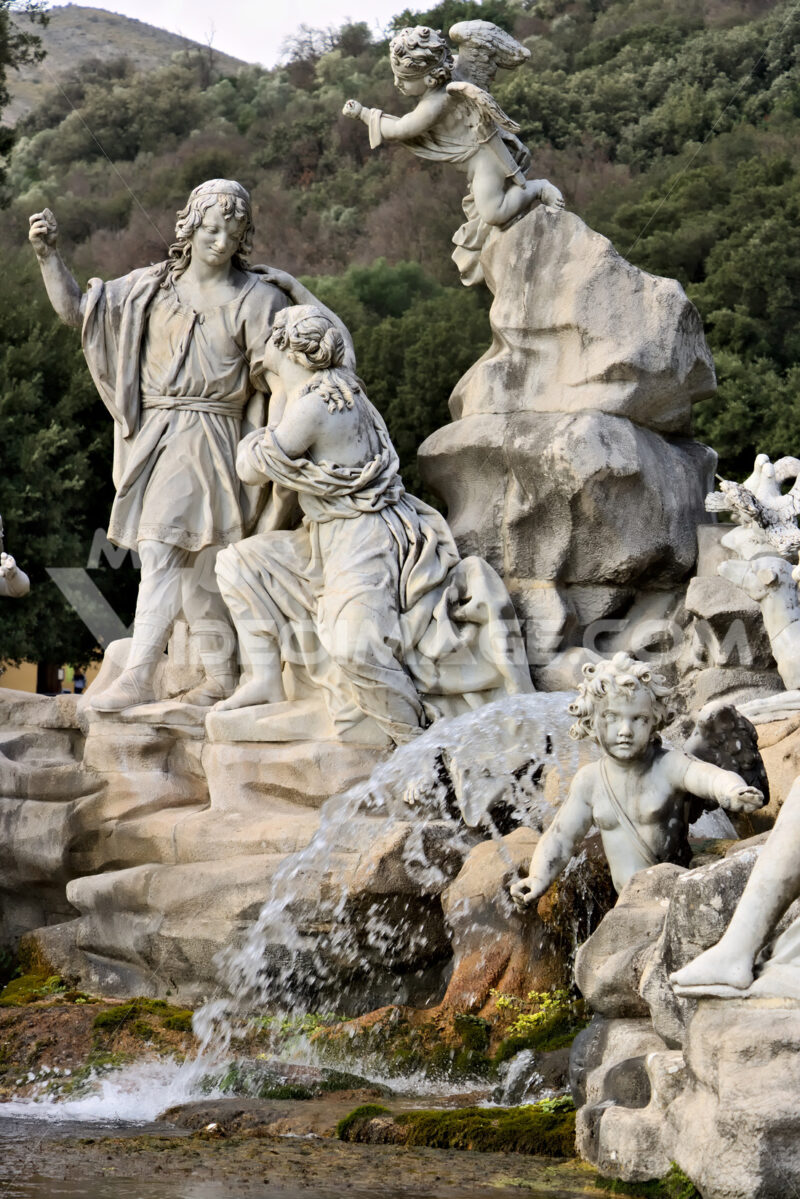 Reggia di Caserta, Italy. 10/27/2018. Fountain with sculptures in white marble - MyVideoimage.com