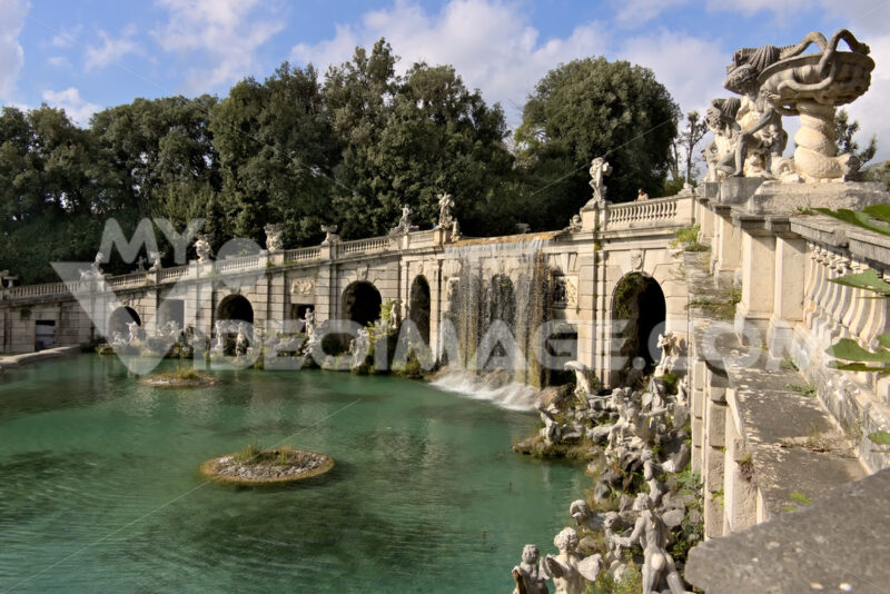 Reggia di Caserta, Italy. Fountain with water fall. Decorations with marble sculptures. Foto reggia di Caserta. Caserta royal palace photo