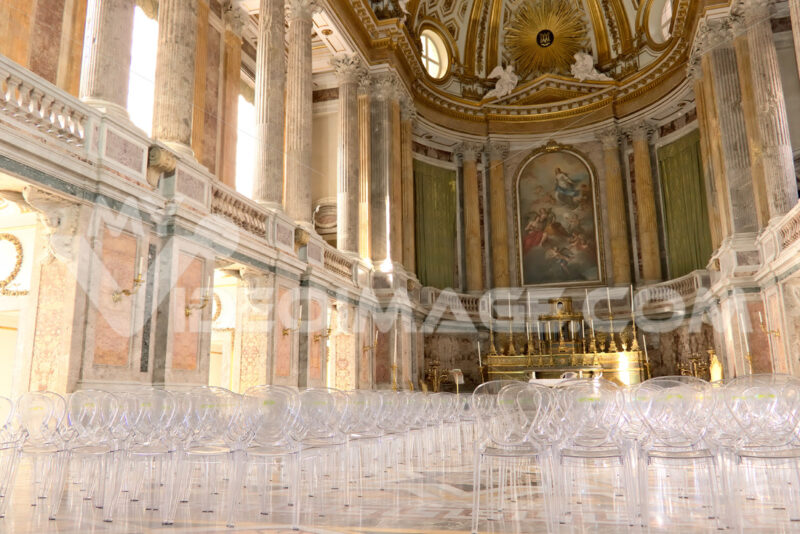 Reggia di Caserta, Italy. Interior of the chapel inside the palace. Contemporary plexiglass chairs. Foto reggia di Caserta. Caserta royal palace photo
