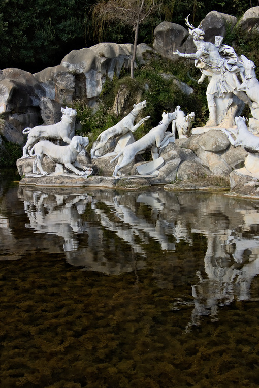 Reggia di Caserta, Italy. 10/27/2018. Monumental fountain with sculptures in white marble - MyVideoimage.com