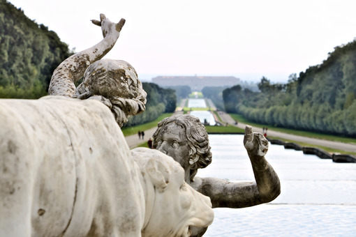 Reggia di Caserta, Italy. 10/27/2018. Sculptures in white marble as decoration of the fountains - MyVideoimage.com