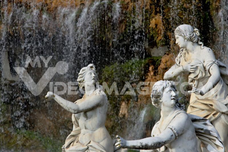 Reggia di Caserta, Italy. 10/27/2018. White marble sculptures under water cascade - MyVideoimage.com