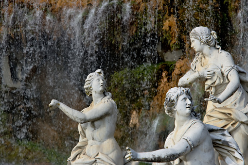 Reggia di Caserta, Italy. 10/27/2018. White marble sculptures under water cascade - MyVideoimage.com