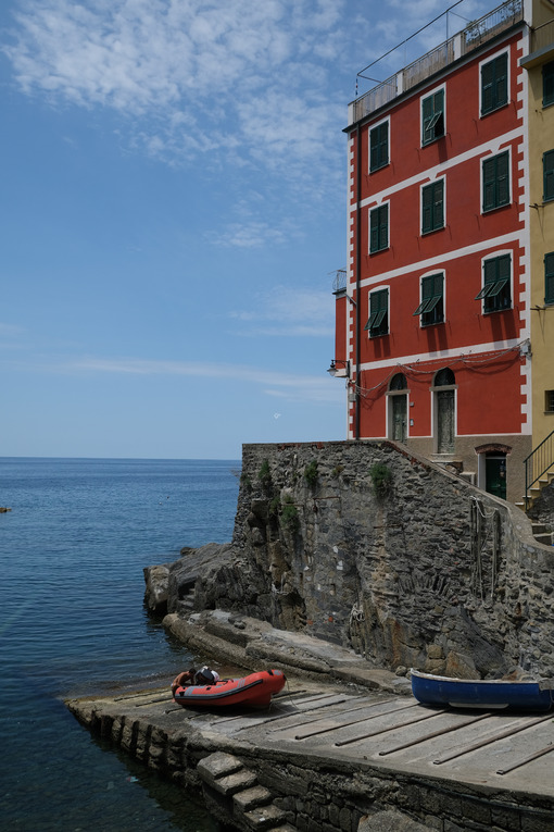 Riomaggiore to the Cinque Terre. Colored houses on the sea. Famous tourist destination. Coronavirus period. Stock Photos. Città italiane. Italian cities.
