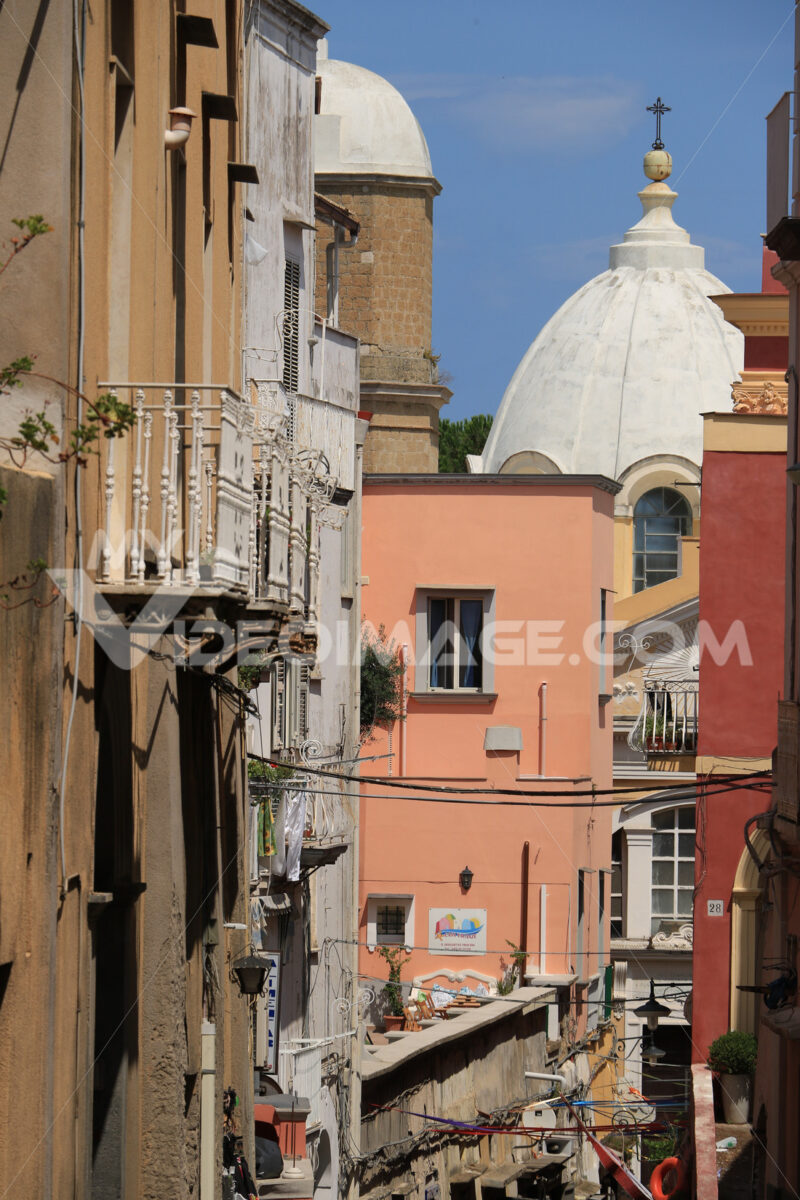 Road on the island. Road on the Island of Procida. In the background the dome of the church. - MyVideoimage.com | Foto stock & Video footage