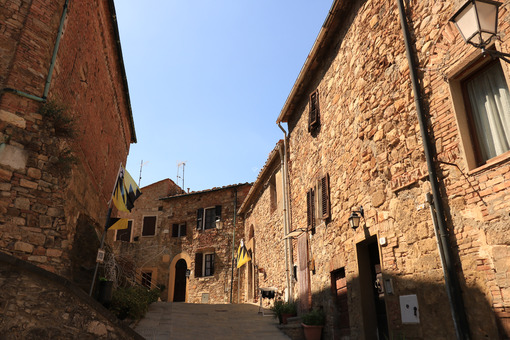 Roads to houses in the town of Montecerboli, Near Larderello. A - MyVideoimage.com
